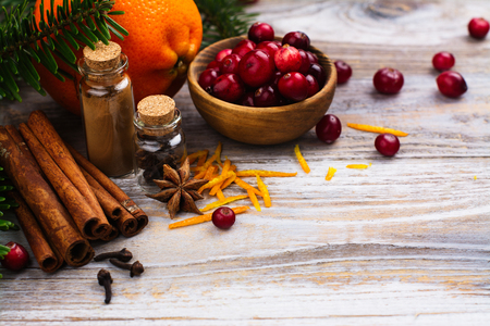 Cranberry sauce ingredients on wooden table. Copy space Stock Photo