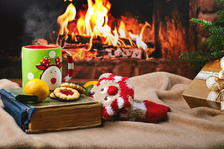 Cozy Christmas evening set with vintage book, hot mulled wine, socks and cookies on warm blanket. Copy space Archivio Fotografico