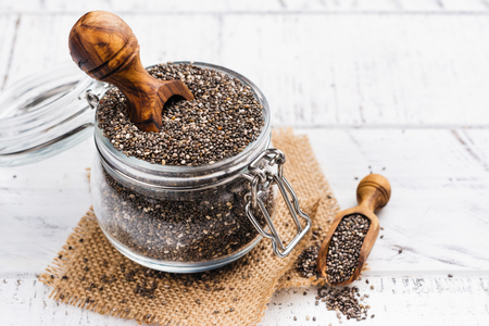 Healthy chia seeds in a glass jar. Healthy eating concept. Copy space Stock Photo - 91266242