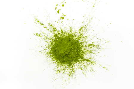 Green matcha tea powder 스톡 콘텐츠
