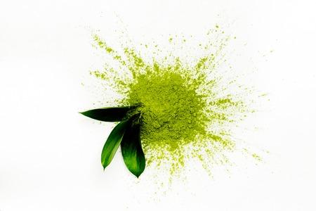 Green matcha tea powder 스톡 콘텐츠