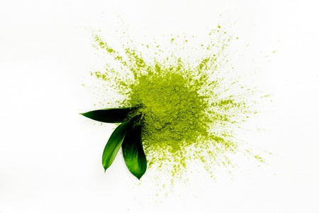Green matcha tea powder Archivio Fotografico