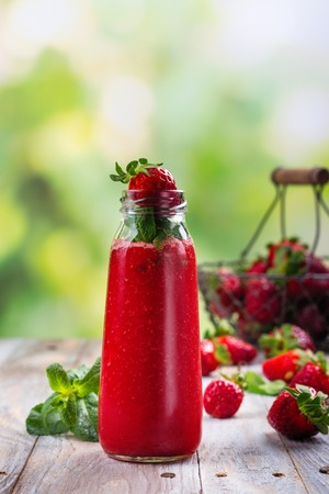 Fresh summer strawberry smoothie