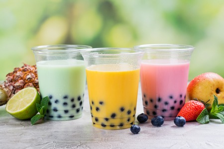 Homemade bubble tea with tapioca pearls Stock Photo