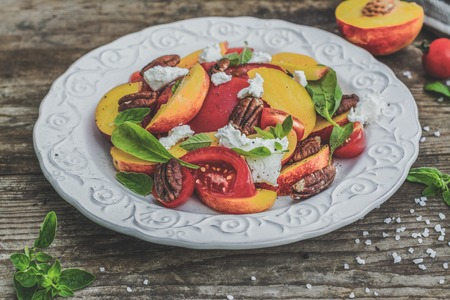 Summer peach tomato salad