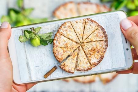 Mobile shot of apple pie Stock Photo
