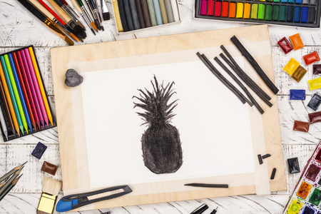 Charcoal sketch of a pineapple