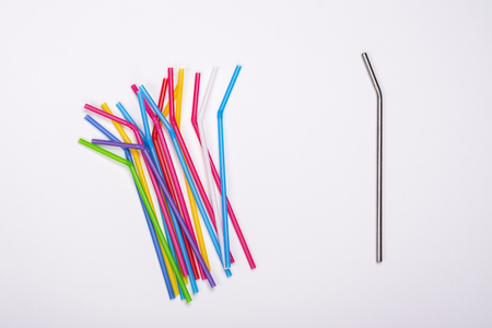 Plastic straws and metal straw