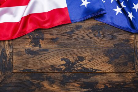 American flag on wooden background Stock Photo