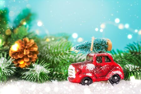 Christmas fir tree on toy car