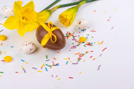 Easter background with flowers, eggs