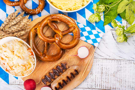 Food for Oktoberfest party Archivio Fotografico