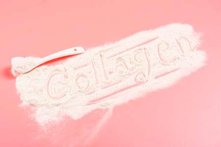 Collagen powder on pink