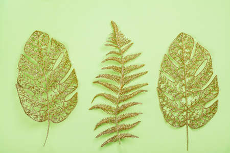 Golden leaves on green Archivio Fotografico