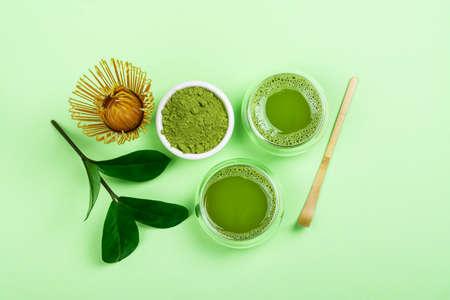 Green matcha tea drink