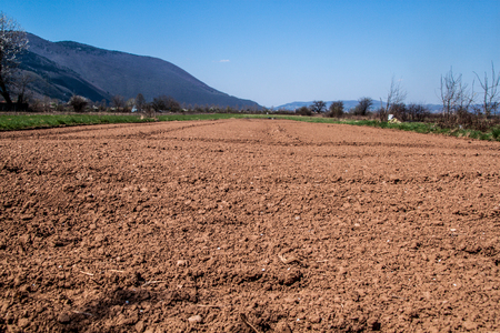 Nice and sunny day of spring sowing, plowed fields, preparation for planting vegetables