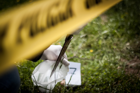 The crime scene, murder, investigation, police found a bloody knife in the grass and taken as evidence, expert with rubber gloves is taken and placed in the bag