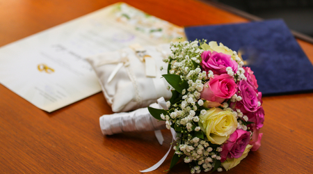 Wedding day, flower bouquet, and silk pillows for weddings