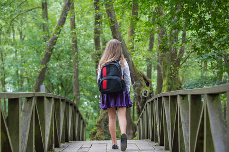 Beautiful pretty blonde school girl child from back with white shirt, purple skirt and backpack walking on a bridge in nature back to school Zdjęcie Seryjne