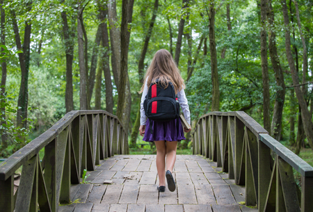 Beautiful pretty blonde school girl child from back with white shirt, purple skirt and backpack walking on a bridge in autumn nature back to school Zdjęcie Seryjne