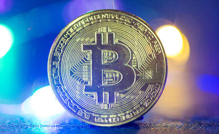 Bitcoin in spotlight of rising markets and substitute for gold as digital cryptocurrency and investment in future business market.
