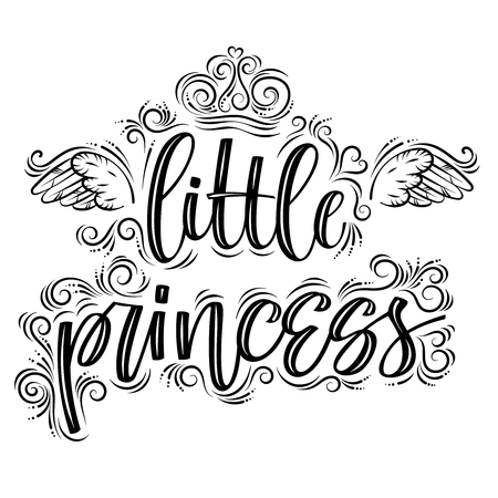 Little princess. Hand drawn creative modern calligraphy