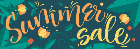Big summer sale vector colour calligraphy floral pattern Stock Illustratie