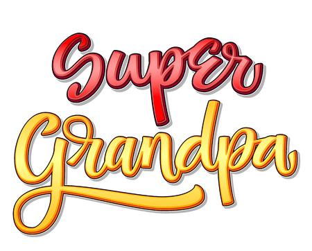 Super family text - Super Grandpa color calligraphy Illusztráció