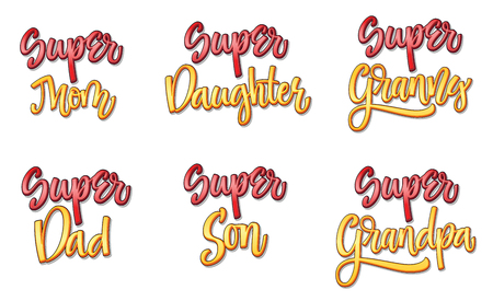 Super family text set comic style calligraphy