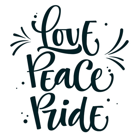 Gay Pride text Love Peace Pride with splash and dots decor Illustration