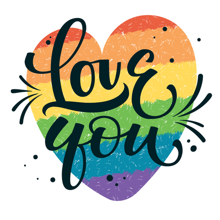 Gay Pride text Love you with splashes and dots decor on colorful gay rainbow heart background