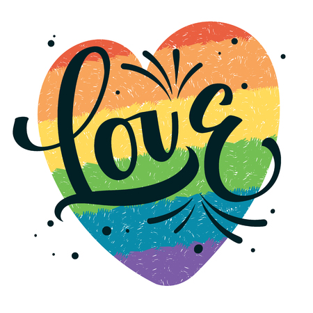 Gay Pride text Love with splashes and dots decor on colorful gay rainbow heart background