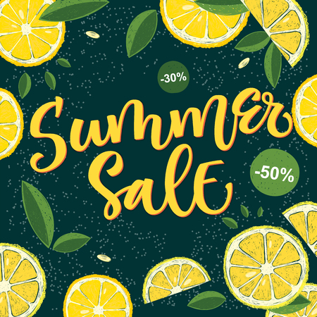 Summer season - Summer Sale - social media banner, card, poster template. Hand writed calligraphy colorful design with lemon fruit and leafs design.