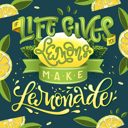 If Life Gives You Lemons Make Lemonade - hand draw calligraphy lettering illustration motivational quote with lemon and leaf design on dark background. Cards, poster, t-shirts prints