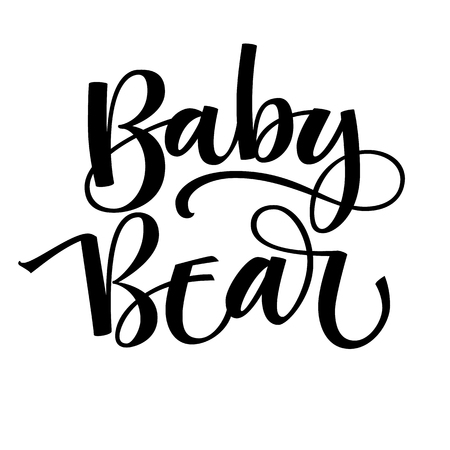Baby Bear - Bear Family vector simple calligraphy