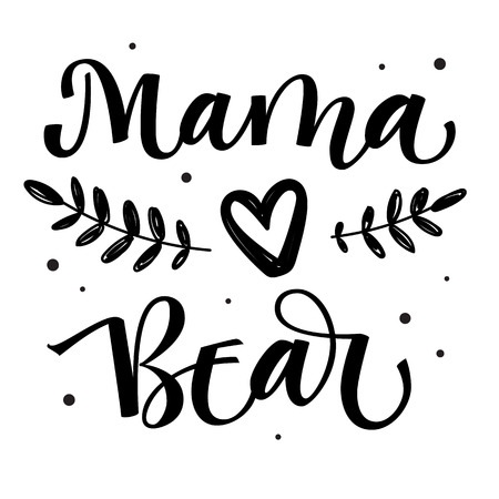 Mama Bear - isolated handdraw simple vector calligraphy with simple hand drawn bear foot and leafes decor - Bear Family quote calligraphy - ard, poster, tshirt, print design.