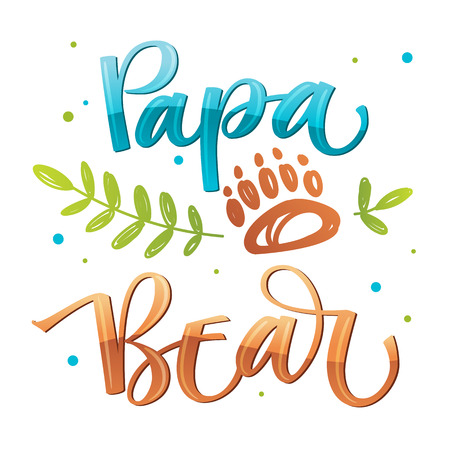 Papa Bear - isolated handdraw colorful vector calligraphy with simple hand drawn bear foot and leafes decor - Bear Family quote calligraphy - Card, poster, tshirt, print design.