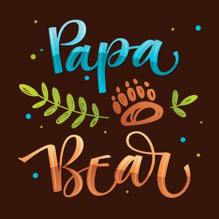 Papa Bear - isolierte handgezeichnete bunte Vektorkalligraphie mit einfachem handgezeichnetem Bärenfuß und Blattdekor auf dunklem Hintergrund - Bärenfamilie Zitat Kalligraphie - Karte, Poster, T-Shirt, Druckdesign.