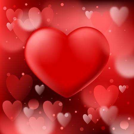 Abstracte rode bokehachtergrond met vlot realistisch hart Vector Illustratie
