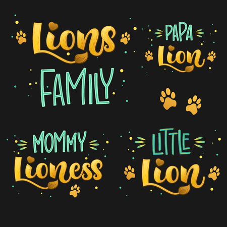 Lions Family set color hand draw calligraphyc script lettering text whith dots, splashes and whiskers decore on dark background. Design for cards, t-shirts, banners, baby shower prints.