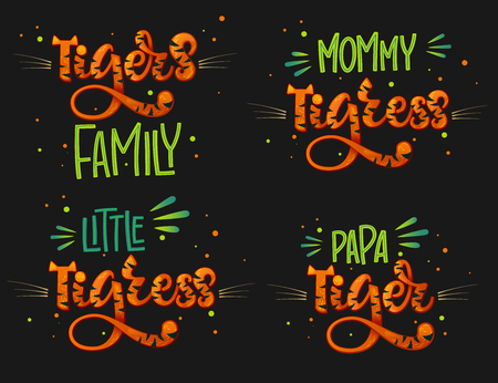 Tigers Family set color hand draw calligraphyc script lettering text whith dots, splashes and whiskers decore on dark background. Design for cards, t-shirts, banners, baby shower prints.
