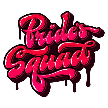 Bride's Squad - hand drawn free style vector lettering word. Modern street art lettering text. Graffiti imitation. Colorful pink tones design element for bachelorette, hen parties
