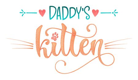Daddy's kitten quote. Color baby shower hand drawn calligraphy style lettering phrase. Boho elements, whiskers decor. Boy, girl card, poster, print, stiker, shirt design. Vettoriali