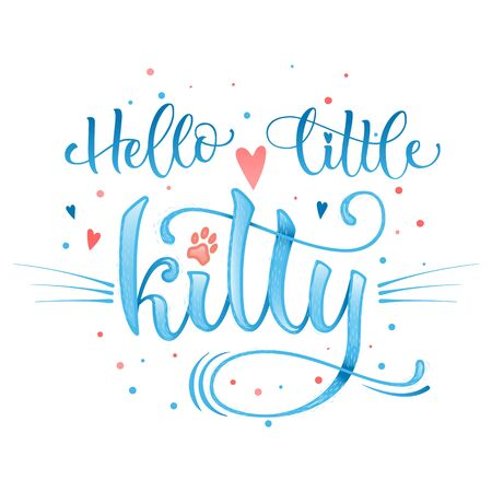 Hello little kitty quote. Blue color baby shower hand drawn calligraphy style lettering phrase. Boho elements, whiskers decor. Boy, girl card, poster, print, stiker, shirt design. Vettoriali