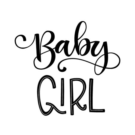 Baby girl logo quote. Baby shower hand drawn grotesque lettering, calligraphy phrase. Simple vector text for cards, invintations, prints, posters, stikers.  Landscape design.