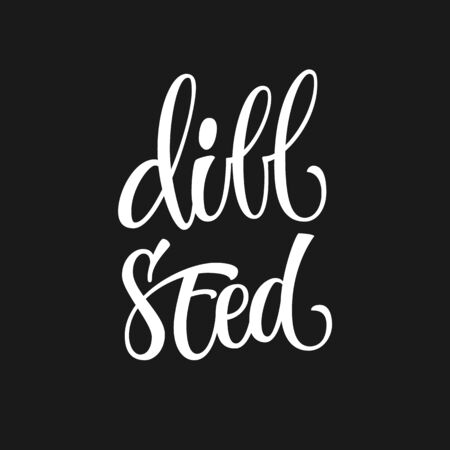Vector hand drawn calligraphy style lettering word - Dill seed. White colored isolated design. Isolated script spice text label.