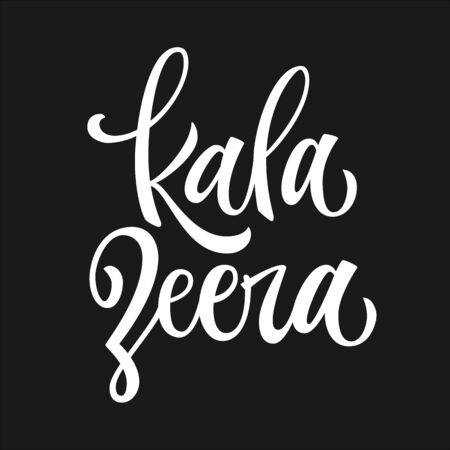 Kala zeera - white colored hand drawn spice label. Isolated calligraphy scrypt stile word. Vector lettering design element.
