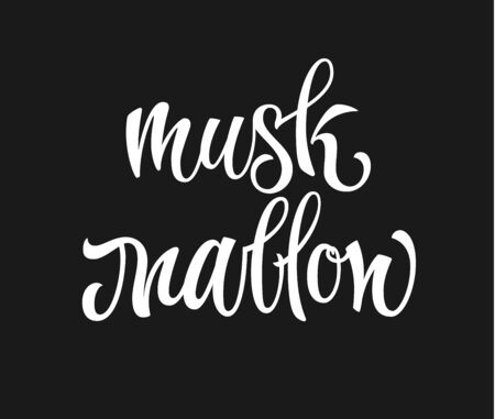 Vector hand drawn calligraphy style lettering word - Musk mallow. White colored isolated design. Isolated script spice text label.