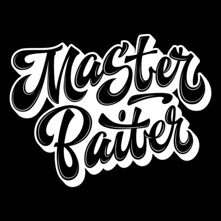 Master Baiter - hand drawn lettering logo phrase. Black and white design. Funny fishing theme phrase for prints, shirts, stikers etc.
