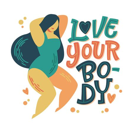 Body positive lettering design. Hand drawn inspiration phrase - Love your body - with a curvy dancing girl. Plus size women character. 向量圖像